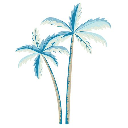Vector palm tree illustration on white background