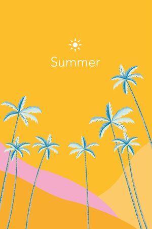 Tropical palm tree background illustration on orange color  イラスト・ベクター素材