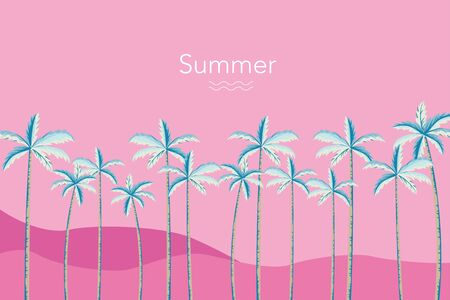 Tropical palm tree background illustration on pink color  イラスト・ベクター素材