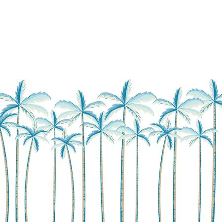 Tropical palm tree background illustration on white