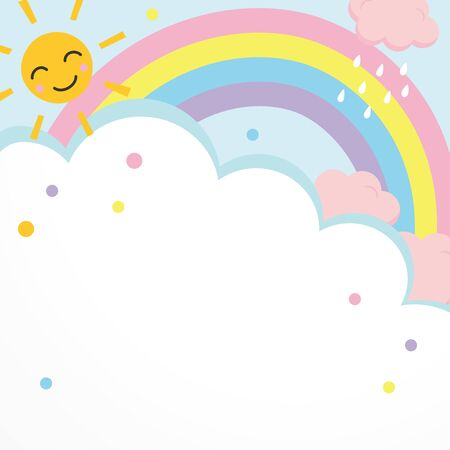 Background illustration of clouds and rainbow, smiling sun