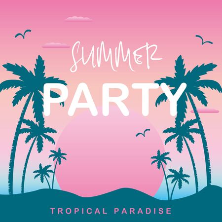 Summer party, Gradient background with silhouettes of palm trees