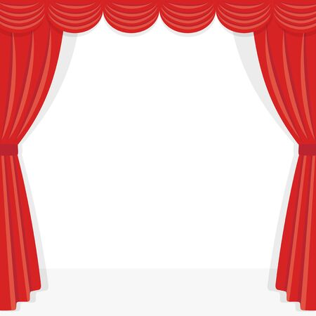 Red stage curtain frame illustration on white background