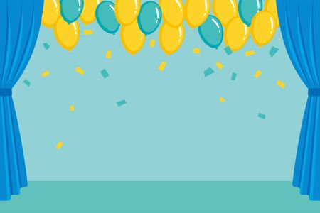 Blue stage curtain and balloon background illustration