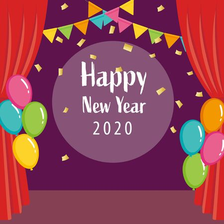 New year 2020 text with colorful confetti and red curtain