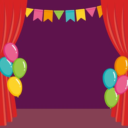 Stage red curtain with colorful balloons and flags