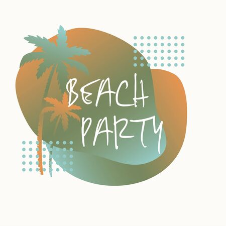 Beach party, Gradient background with silhouettes of palm trees