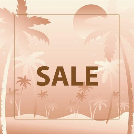 Sale, Gradient background with silhouettes of palm trees  イラスト・ベクター素材