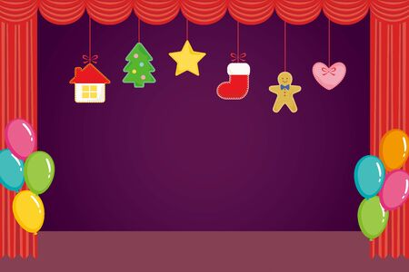 Hanging felt Christmas ornaments on stage