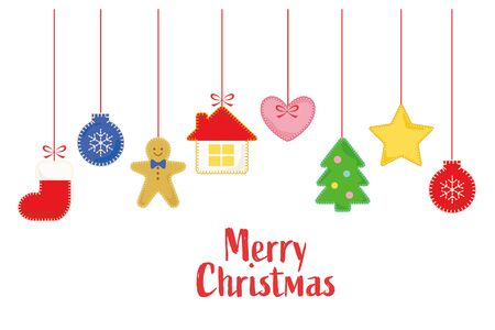 Hanging felt Christmas ornaments on white background
