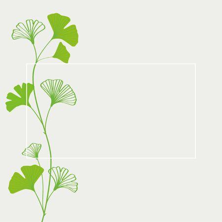 Green ginkgo leaves frame illustration Vettoriali