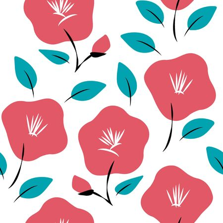 Vector seamless pattern of red camellia flowers Illustration