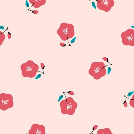 Vector seamless pattern of red camellia flowers Vector Illustratie