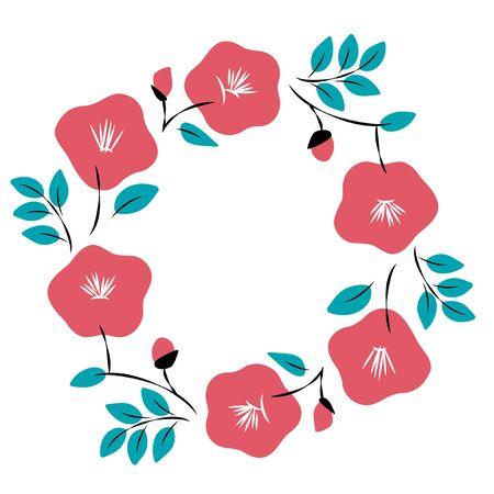 Red camellia flowers frame illustration Illustration