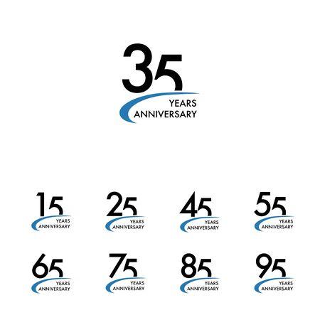 Anniversary design template set, vector illustration Illustration