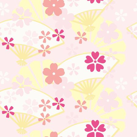 Folding fan and cherry blossoms seamless pattern