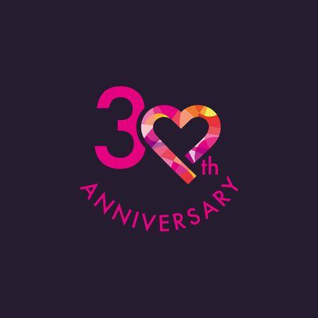 30th, Heart Anniversary Design Template Ilustração