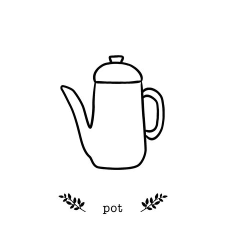 Vector coffee pot  icon in  hand drawn style