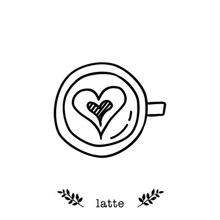 Vector latte coffee icon in  hand drawn style
