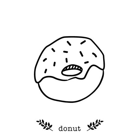 Vector donut  icon in  hand drawn style 向量圖像