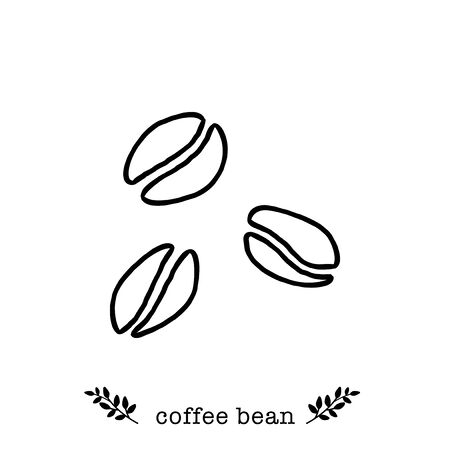 Vector coffee beans  icon in  hand drawn style
