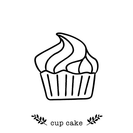 Vector cupcake  icon in  hand drawn style