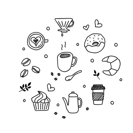 Vector coffee icon set in hand drawn style 向量圖像