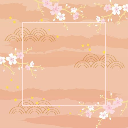 Vector illustration of cherry blossom on pink background 向量圖像