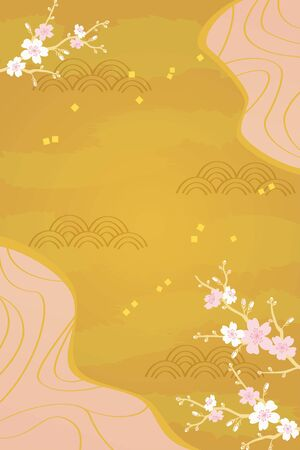 Vector illustration of cherry blossom on gold background