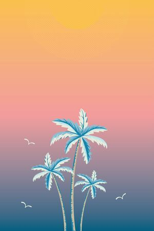 Background illustration of palm trees on sunset or sunrise gradient color