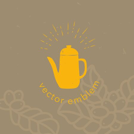 Vector hand drawn coffee pot icon for cafe menu