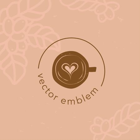 Vector hand drawn coffee latte icon for cafe menu 向量圖像