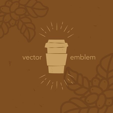 Vector hand drawn paper coffee cup icon for cafe menu