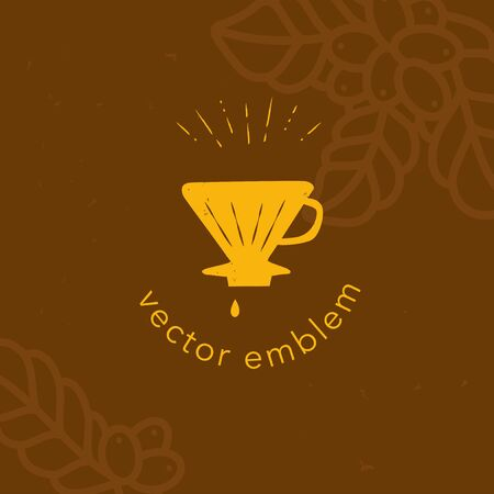 Vector hand drawn coffee dripper icon for cafe menu