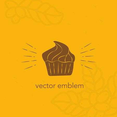 Vector hand drawn cupcake icon for cafe menu 向量圖像