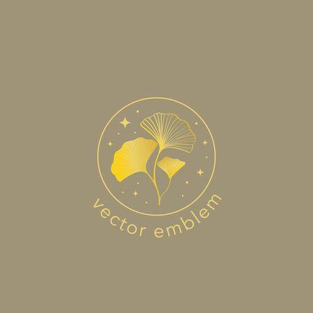 Gold ginkgo leaf vector design template