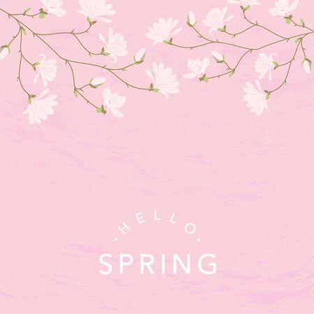 Magnolia flowers background illustration on pink 일러스트
