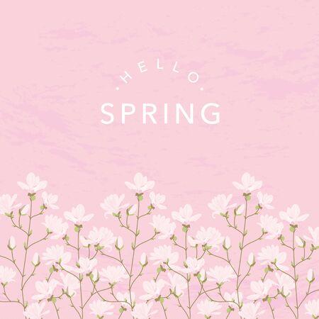 Magnolia flowers background illustration on pink 向量圖像