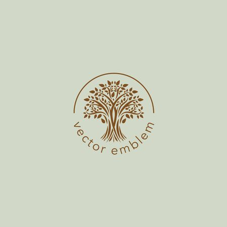 Brown tree vector  design template