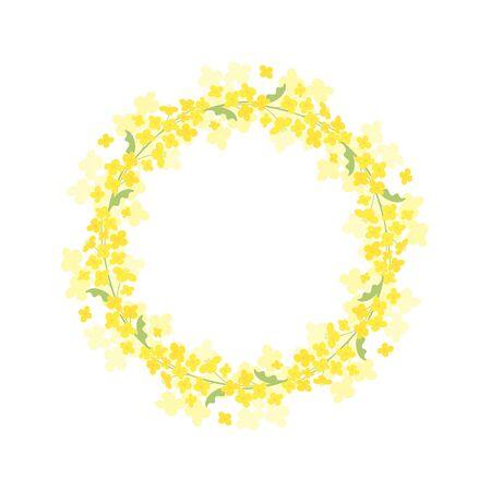 Vector canola flowers wreath frame illustration on white