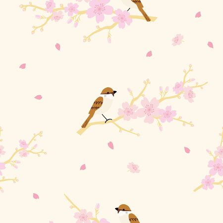 Vector cherry blossoms and sparrows seamless pattern 向量圖像