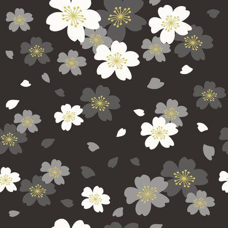 Vector black cherry blossoms seamless pattern 向量圖像