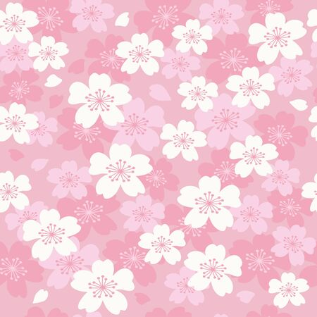 Vector pink cherry blossoms seamless pattern 向量圖像