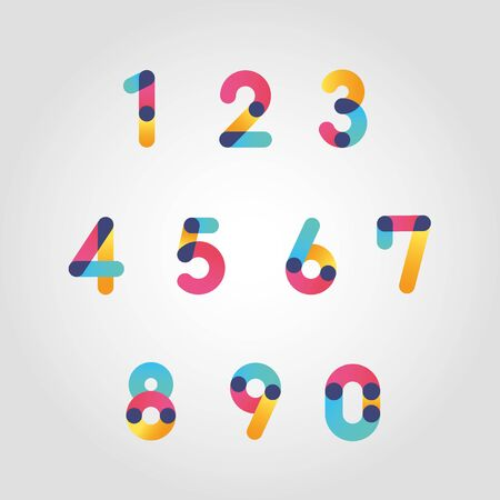 Vector colorful numbers set, From zero to nine