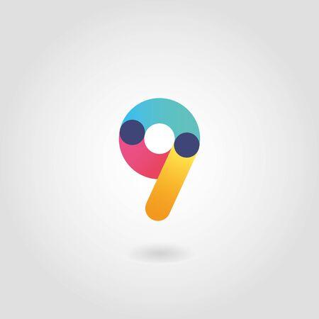 Vector colorful number nine  design template 向量圖像