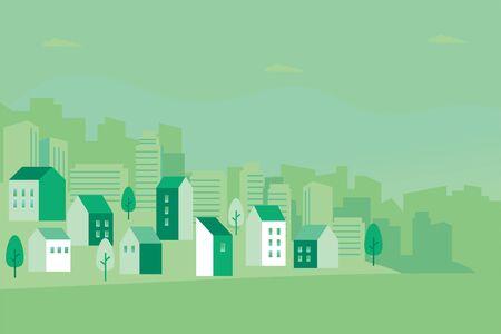 Vector illustration of green cityscape