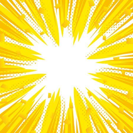 Yellow comic burst background, pop art style Standard-Bild - 150263817