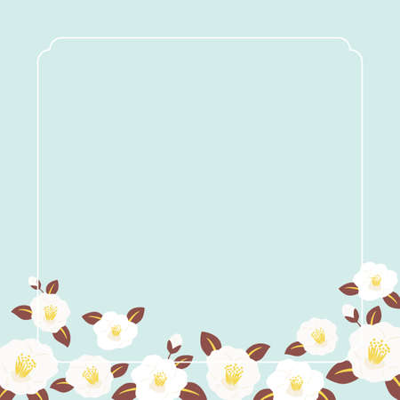 White camellia flowers background illustration