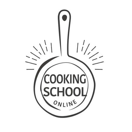 Hand drawn flying pan illustration,  design for online cooking school