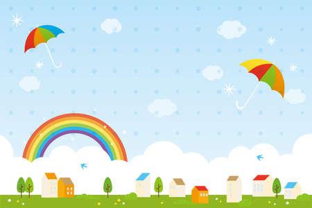 Rainbow and colorful umbrellas background illustration for rainy season Vektorové ilustrace